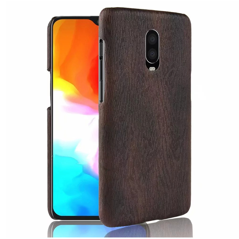 OnePlus 6T Phone Case Cover Wood Wooden Pattern PC Back Case - Black