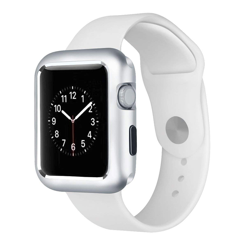 44mm Apple Watch Case Magnetic Adsorption Aluminum Frame Case for iWatch Series 4 - Silver