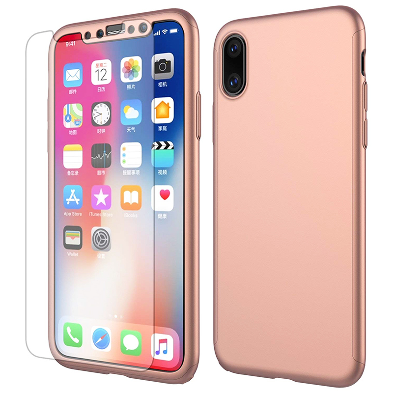 360 Degree Full Protective Case Hard PC Phone Cover for iPhone XS Max - Rose Gold