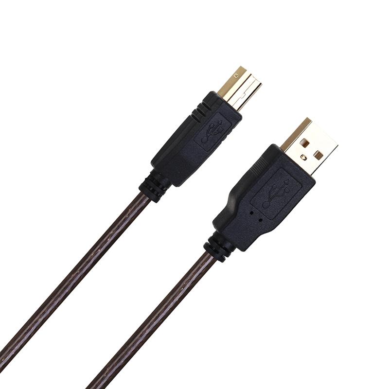8M USB 2.0 High Speed Belt Shield Printer Copper Line USB Printer Extension AM to BM Black Cable