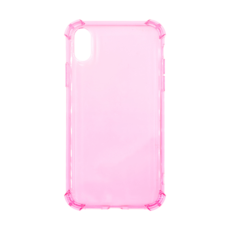 Transparent Thin TPU Rubber Soft Skin Silicone Protective Case Phone Cover for iPhone X/XS-Pink