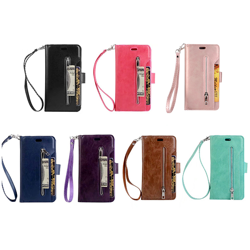PU Stand Flip Phone Cover Zipper Phone Case with Card Wallet for iPhone XR - Blue