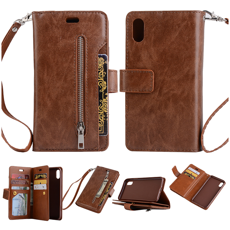 Card Wallet Flip Leather Stand Zipper Phone Case Cover For iPhone XS MAX - Brown