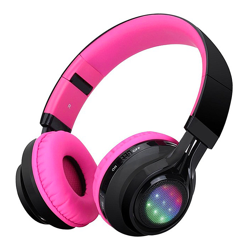 LED Wireless Bluetooth Headphone Sports Sound Card Earphone Headset - Hot Pink