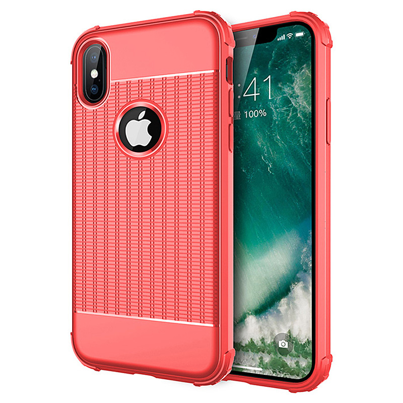 iPhone XS Max Shockproof Silicone TPU Protective Case Cover - Red