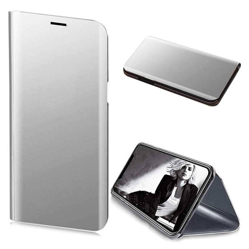 Mirror Plating Clear View Flip Stand Case Hard PC Bumper Cover for iPhone XS Max - Silver