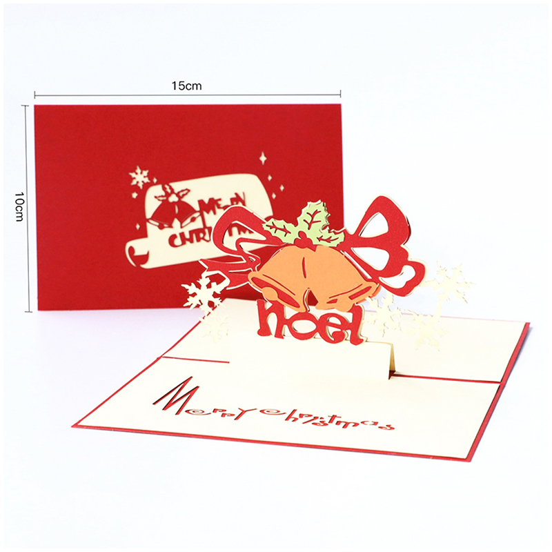 Creative Christmas Handmade 3D Cards Pop Up Holiday Greeting Cards Gifts - Christmas Bell