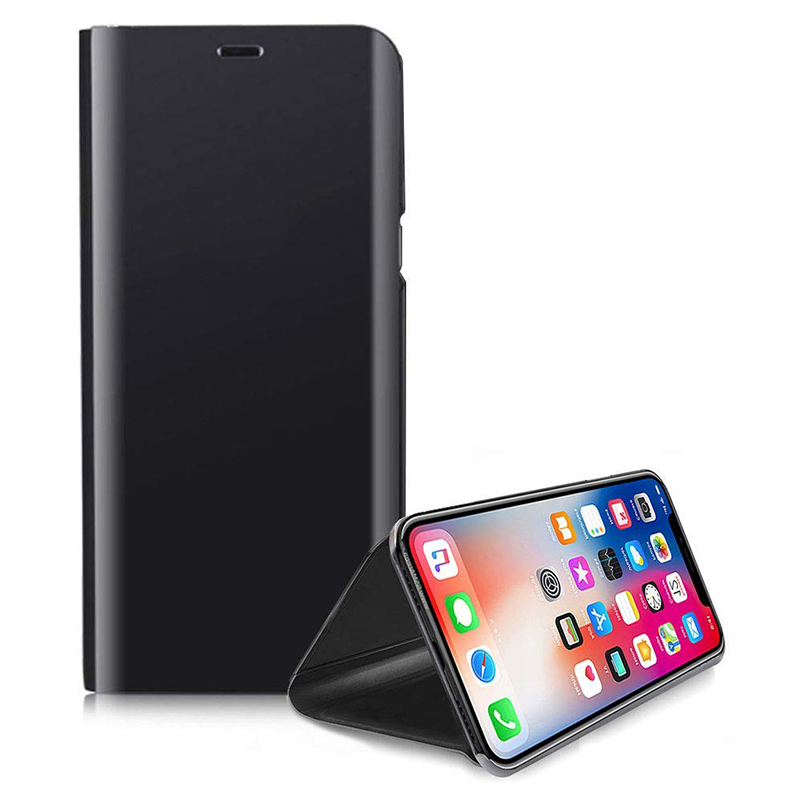 Mirror Plating Leather Case Holder Stand Cover for iPhone XR - Black