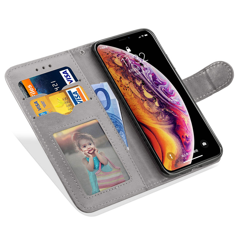 Business Smooth PU Cover with Kickstand Wallet Phone Case with Card Slot for iPhone X/XS - Grey