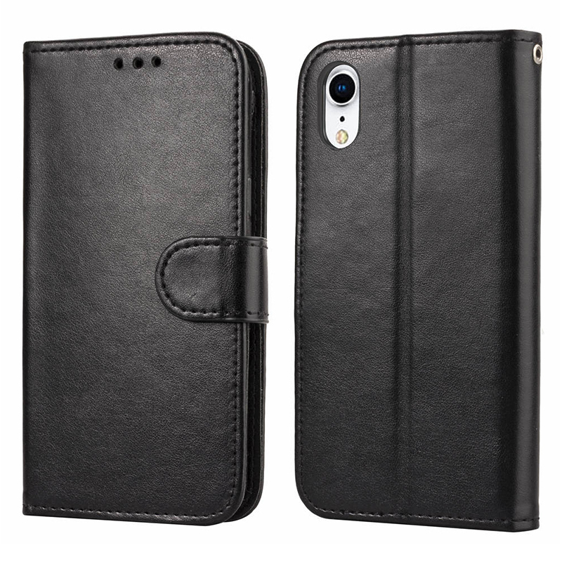 Simple Flip PU Leather Phone Case with Stand Wallet Phone Cover with Card Slot for iPhone XR - Black
