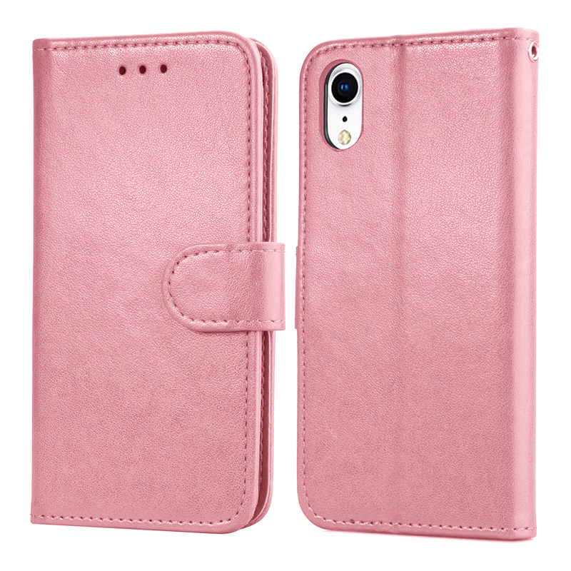 Simple Flip PU Leather Phone Case with Stand Wallet Phone Cover with Card Slot for iPhone XR - Pink