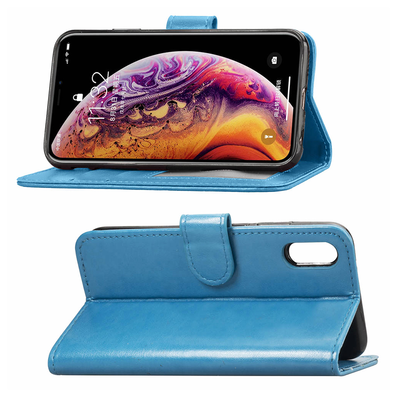 Simple Flip PU Leather Phone Case with Stand Wallet Phone Cover with Card Slot for iPhone XR - Blue
