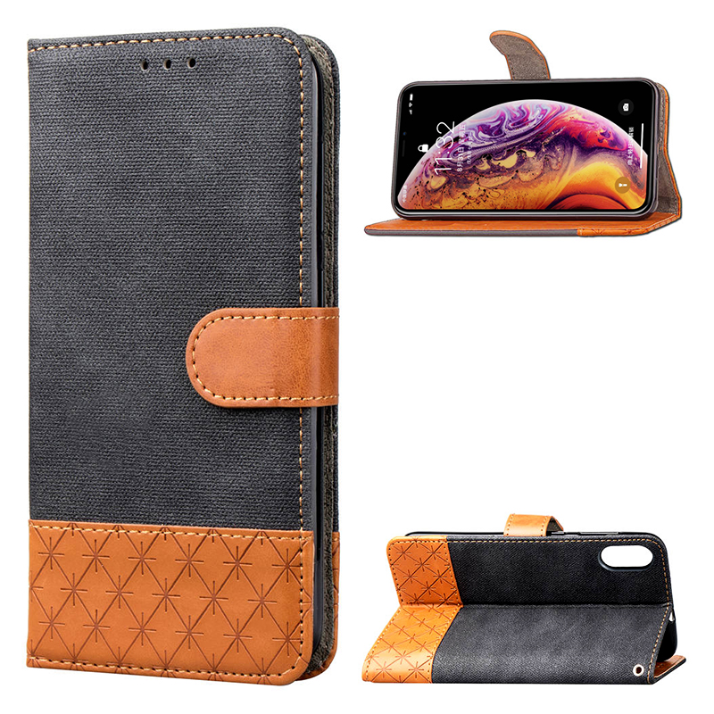 PU Leather Wallet Magnetic Flip Phone Case Cover for iPhone X/XS - Black