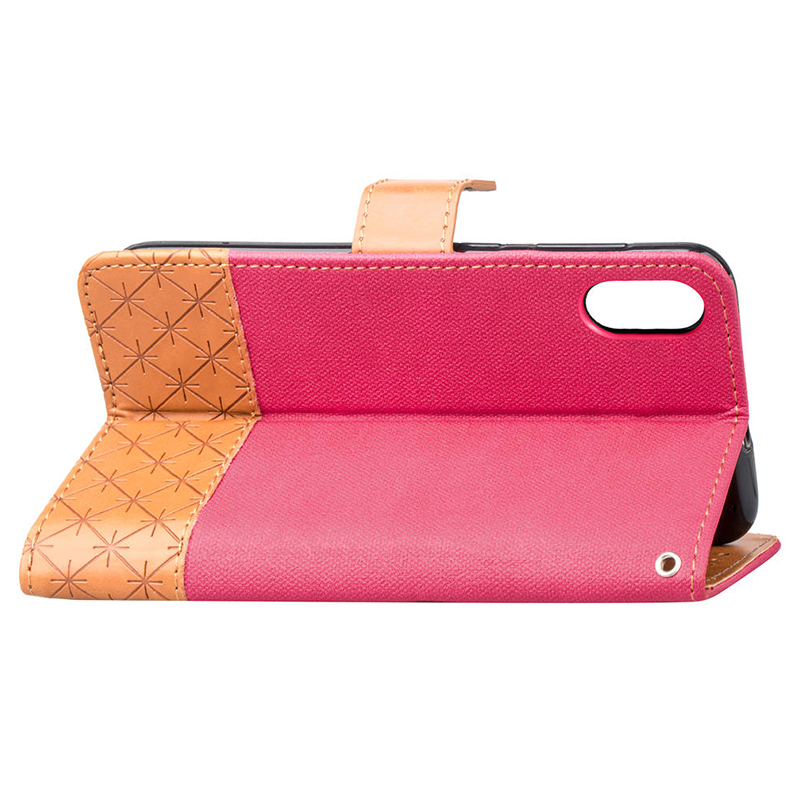 Denim Stand PU Leather Card Holder Flip Wallet Case Cover for iPhone XR - Hot Pink