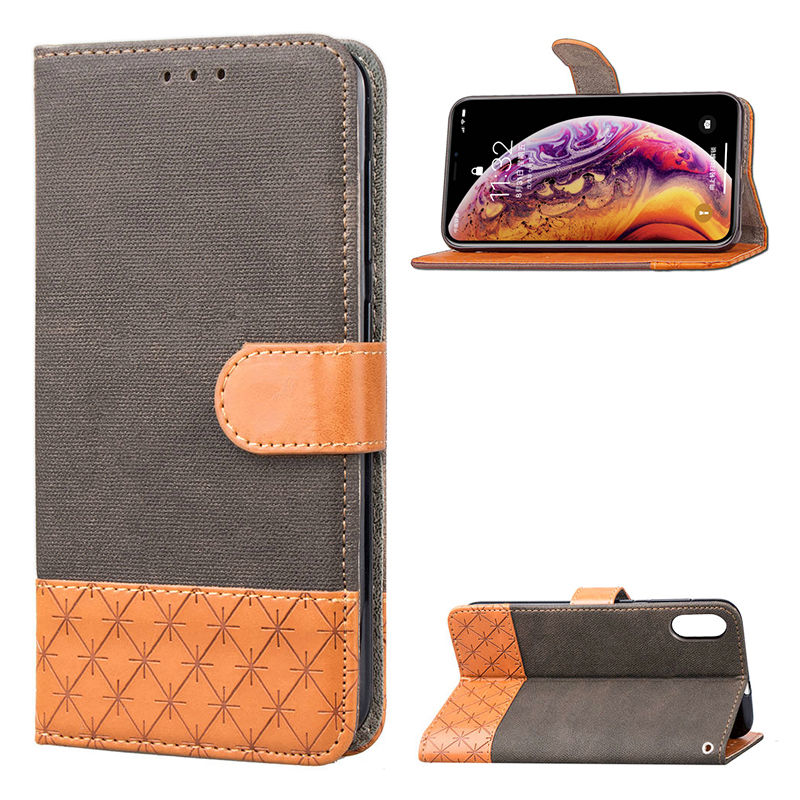 PU Leather Wallet Card Stand Case Flip Cover for iPhone XS MAX - Brown