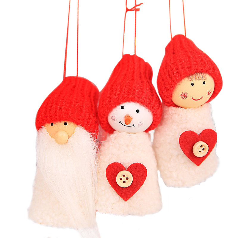 3Pcs/Set Santa Claus Christmas Hanging Ornaments Pine Cone Doll Gift Home Party Decorations - White Heart