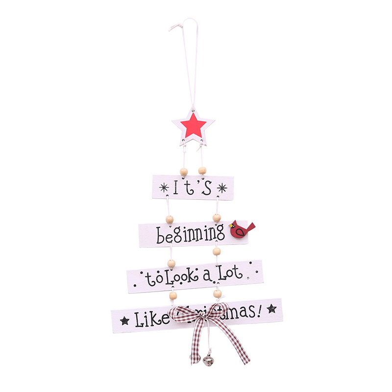 Christmas Wooden Pendant Door Decorations Letter Tree Hanging Home Party Ornaments - White