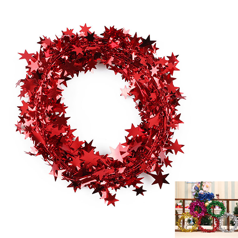 1pcs Christmas Tree Hanging Star Garland New Year Decoration for Home Wall Party - Red