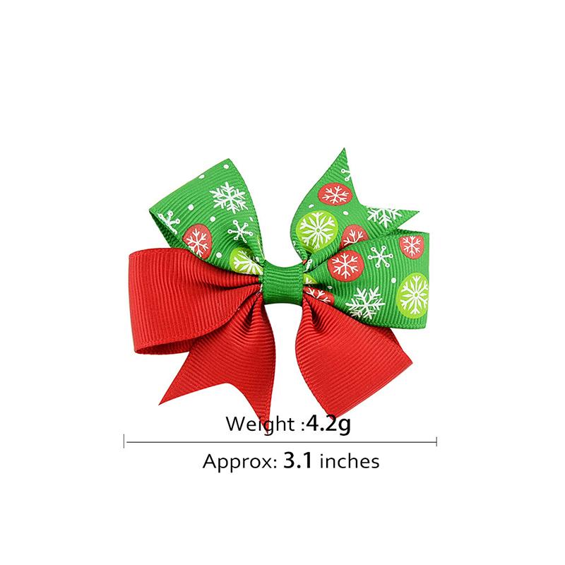 12pcs/lot Cute Girls Baby Ribbon Bow Hair Clip Kids Bowknot Hairpin Children Hair Accessories Christmas Ornaments - 639