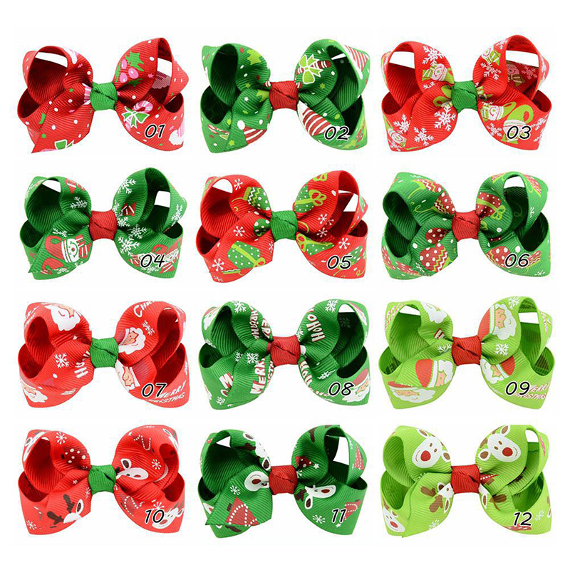 12pcs/lot Cute Girls Baby Ribbon Bow Hair Clip Kids Bowknot Hairpin Children Hair Accessories Christmas Ornaments - 756
