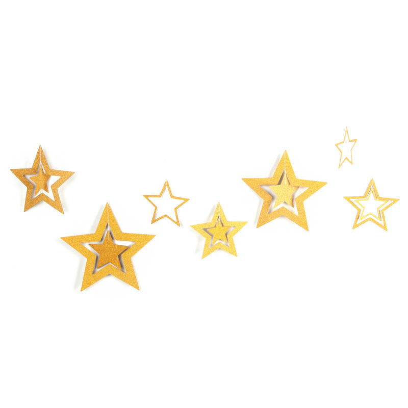 7pcs/set Hanging Shining Glitter Paper Star Wedding Birthday Party Ornament Christmas Decoration - Gold