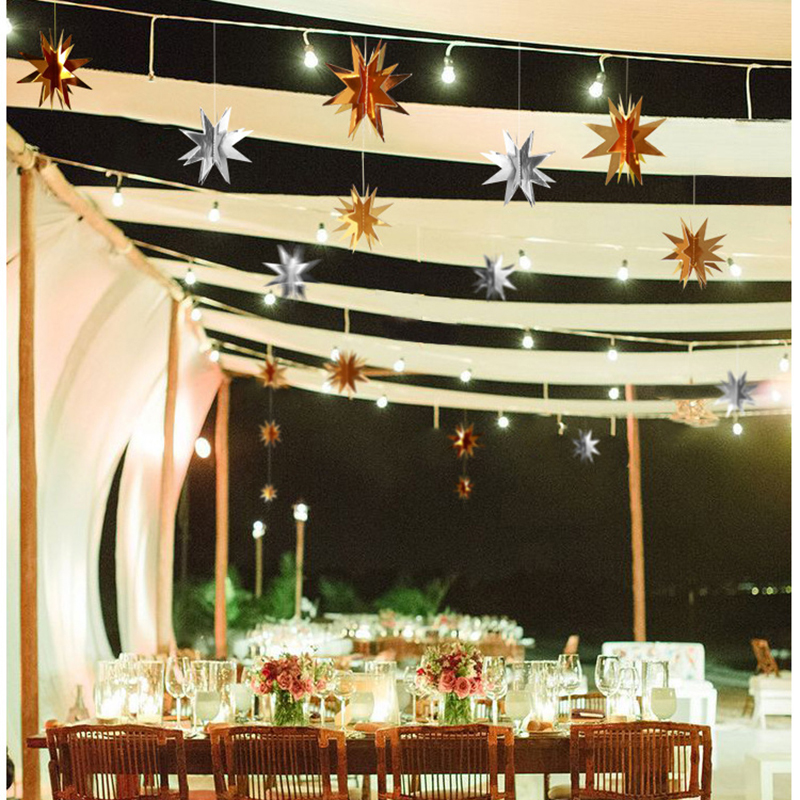 6pcs/set Three - dimensional Hanging Star Wedding Birthday Party Christmas Decoration Ornament - Silver