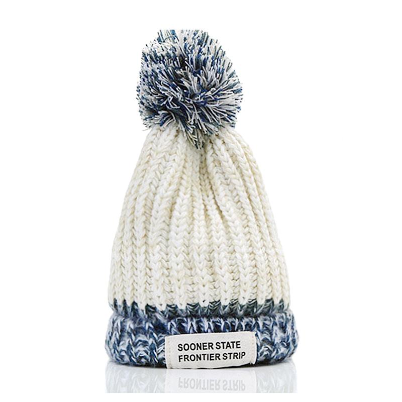Children Baby Winter Warm Knitted Hat Fashion Beanie Cap for Kids - White
