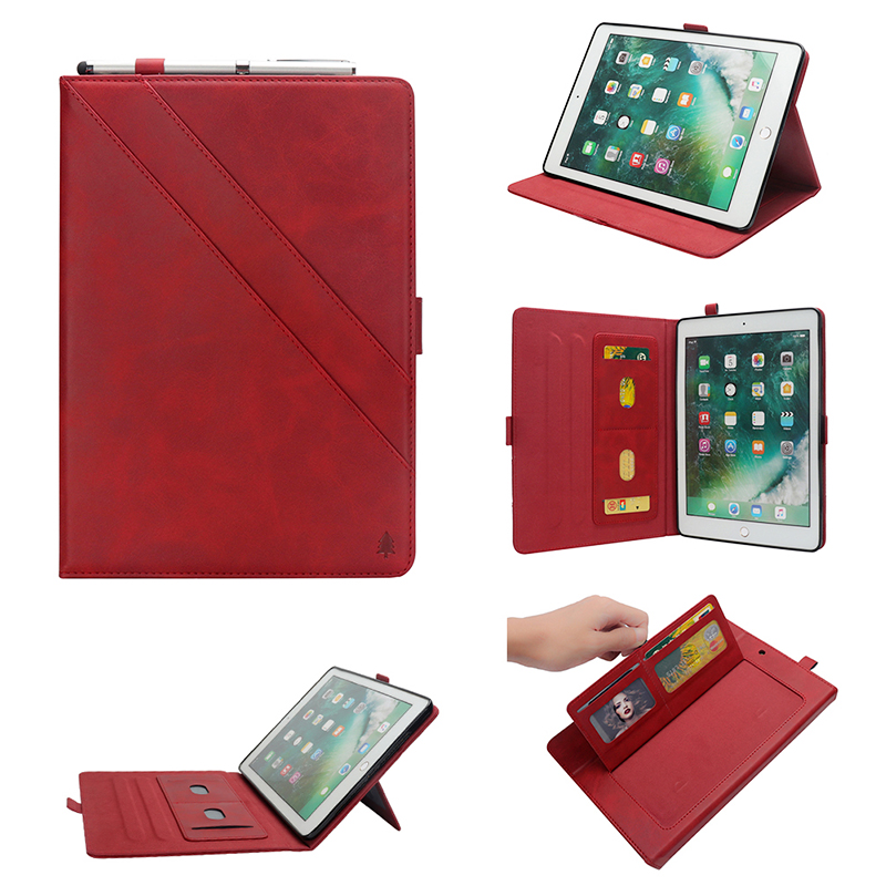 Pure Color Double Holder Leather Tablet Flip Stand Case for New iPad 2018 2017 9.7 Inch - Red