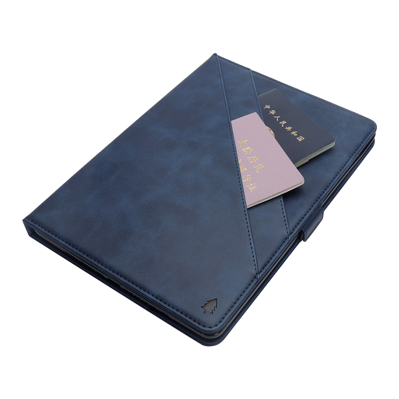 Pure Color Double Holder Leather Tablet Flip Stand Case for New iPad 2018 2017 9.7 Inch - Blue