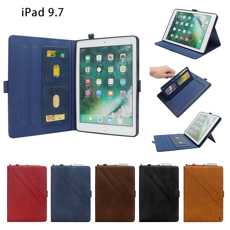 Pure Color Double Holder Leather Tablet Flip Stand Case for New iPad 2018 2017 9.7 Inch - Dark Brown