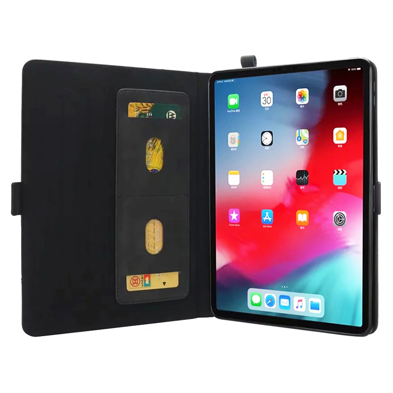 Universal Horizontal Flip Double Holder PU Case with Holder Card Slot Photo Frame for New iPad Pro 11'(2018) - Black