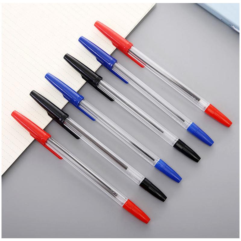 50pcs Stationery Transparent Pen Tube Ballpoint Medium Pens - Blue Ink