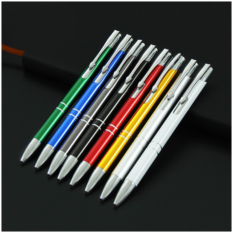 0.7mm Press Type Office Stationery Aluminum Ballpoint Pen Metal Pen Blue Ink - Red