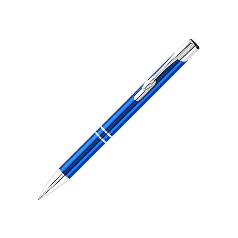 0.7mm Press Type Office Stationery Aluminum Ballpoint Pen Metal Pen Blue Ink - Blue