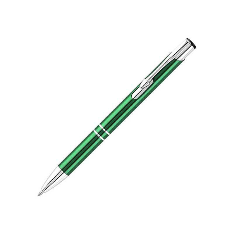 0.7mm Press Type Office Stationery Aluminum Ballpoint Pen Metal Pen Blue Ink - Green