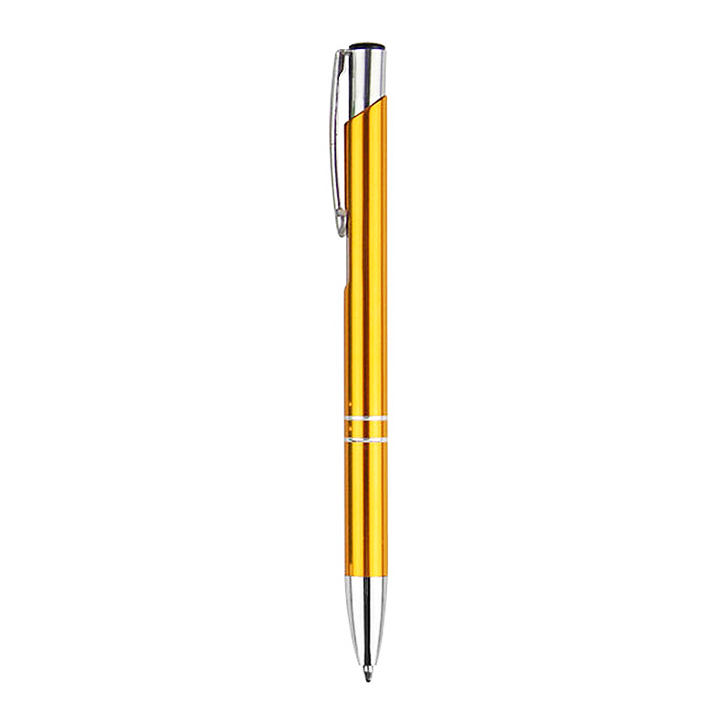 0.7 mm Press Type Office Stationery Aluminum Ballpoint Pen Metal Pen Blue Ink - Gold