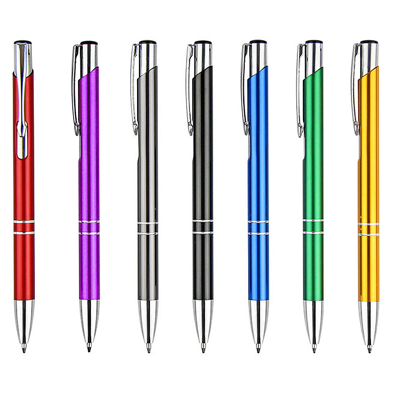 0.7mm Press Type Office Stationery Aluminum Ballpoint Pen Metal Pen Blue Ink - Purple