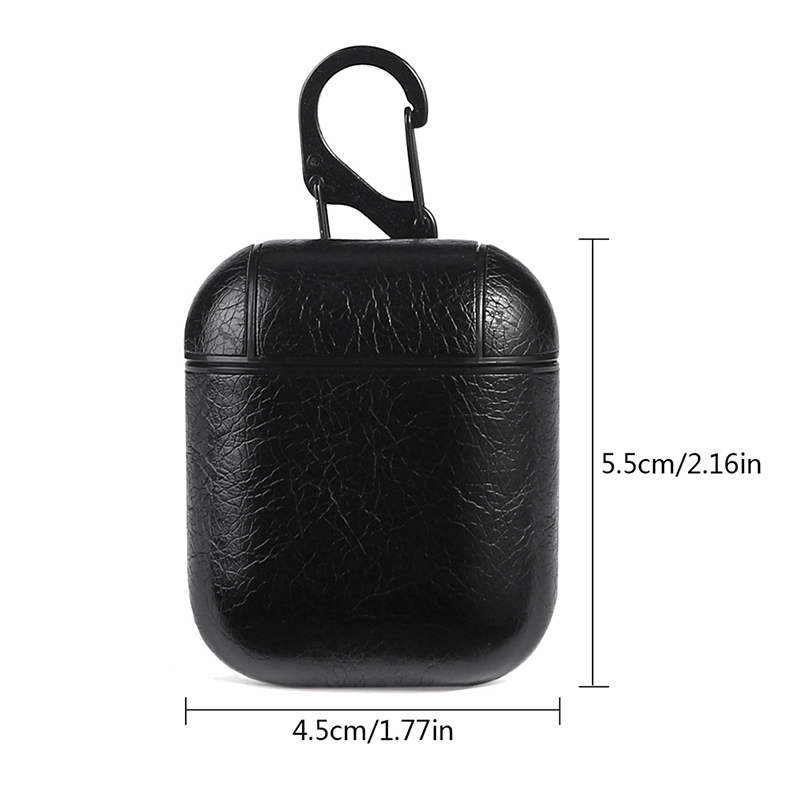 Genuine Leather Earphone Case Wireless Bluetooth Headphone Pouch Protective Cover Box for AirPods - Black