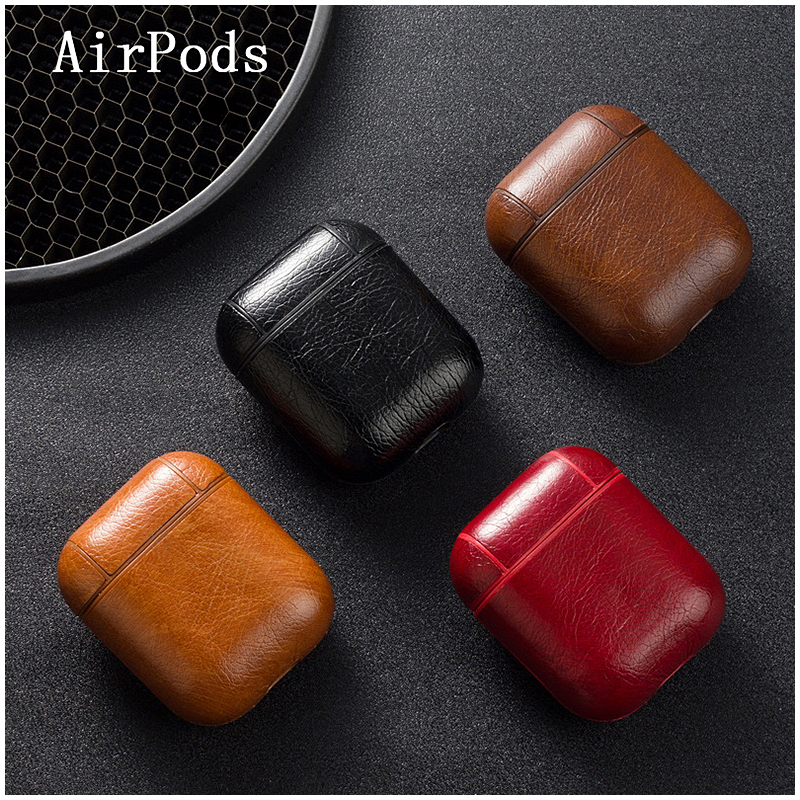 Genuine Leather Earphone Case Wireless Bluetooth Headphone Pouch Protective Cover Box for AirPods - Light Brown