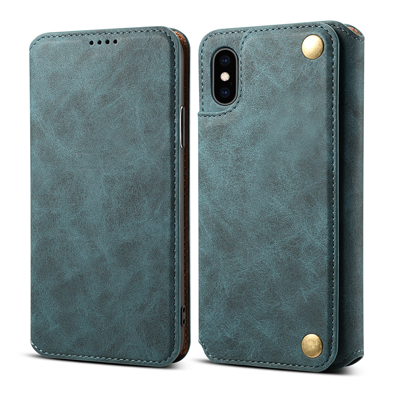 Stand Function Flip PU Leather Retro Wallet Cover Phone Case for iPhone X/XS - Blue