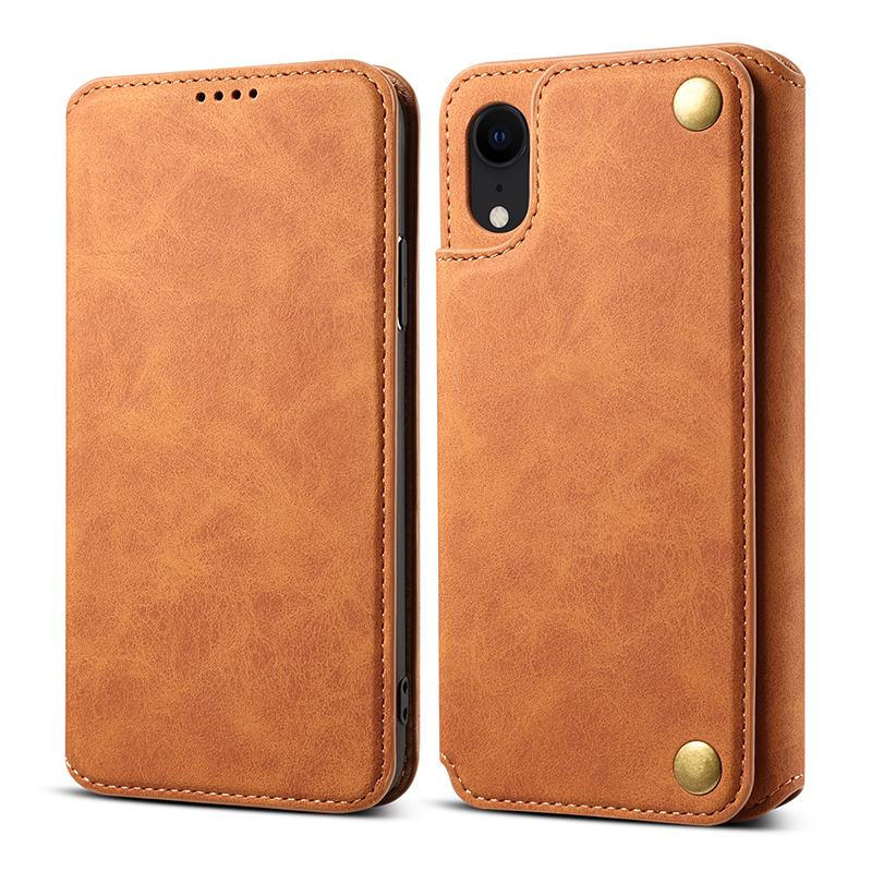 Ultra-thin PU Leather Luxury Wallet Vintage Cover Phone Case for iPhone XR - Brown