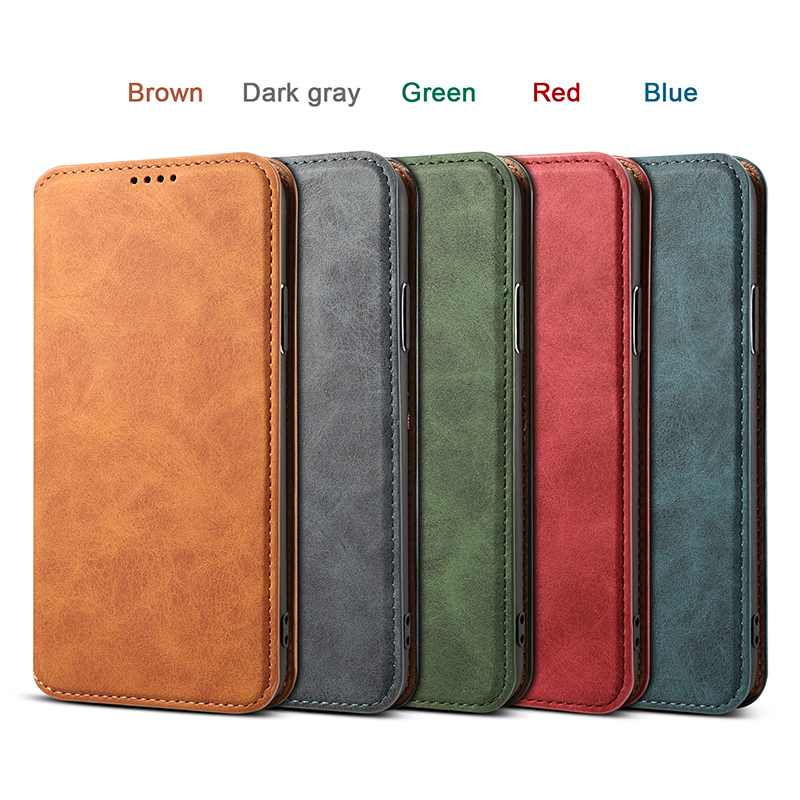 Ultra-thin PU Leather Luxury Wallet Vintage Cover Phone Case for iPhone XR - Dark Green