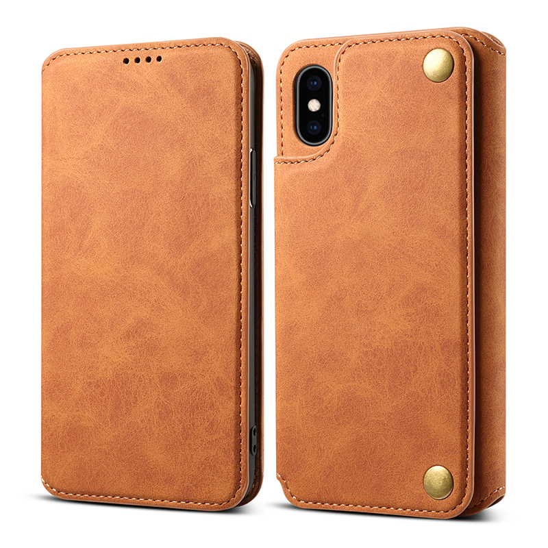 Vintage Calf Leather Wallet Phone Cover Flip Stand Case for iPhone XS MAX - Brown