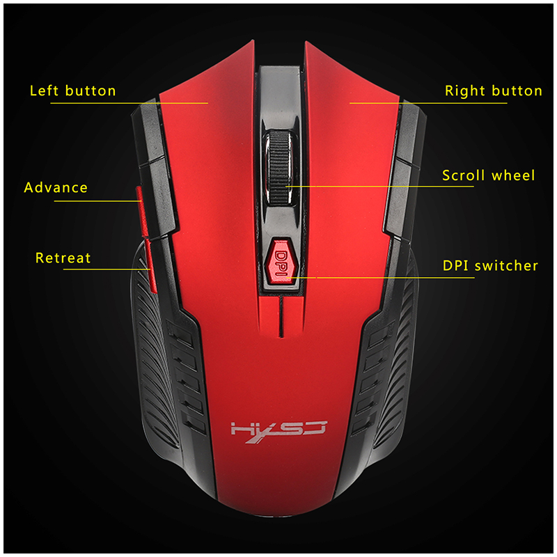 X20 2.4G Optical Mini Portable Wireless Mouse with USB Receiver - Red.