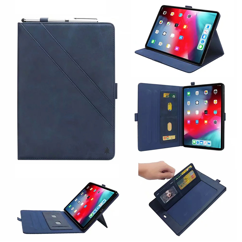 Flip Stand Double Holder Leather Case with Card Slot Photo Frame for iPad Pro 12.9'(2018) - Blue