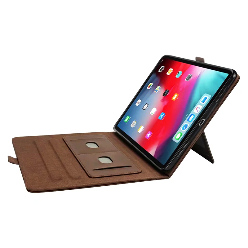 Flip Stand Double Holder Leather Case with Card Slot Photo Frame for iPad Pro 12.9'(2018) - Dark Brown