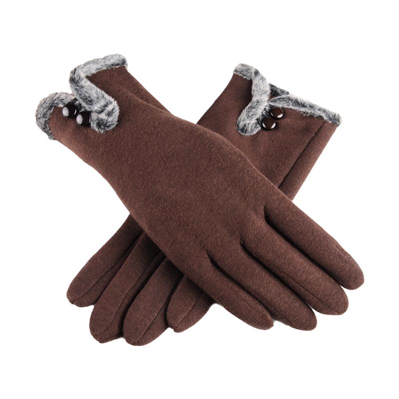 Women Winter Warm Thick Biking Cotton Fleece Fashion Windproof Touch Screen Gloves - Brown
