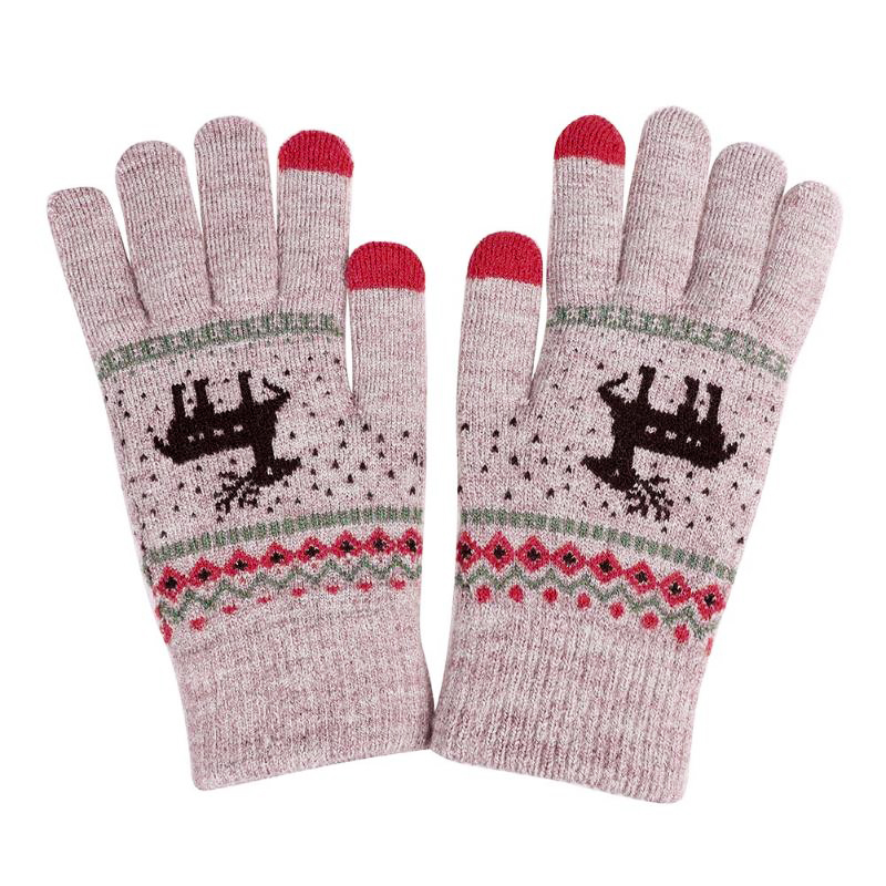 Winter Knitting Touch Screen Finger Gloves Deer Printed Keep Warm New Year Gloves for Women and Men - Khaki