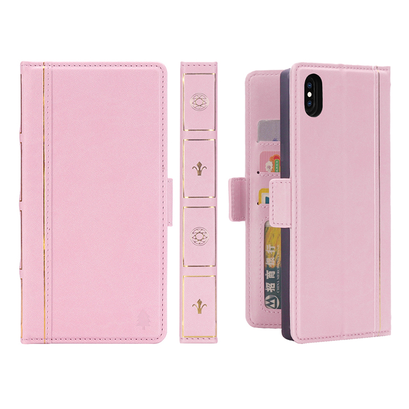Bible Style Horizontal Flip Wallet Stand Leather Case with Card Slot Photo Frame for iPhone XS MAX - Pink
