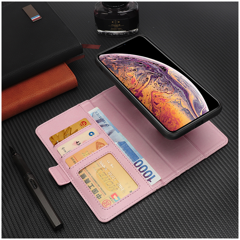 Bible Style Business Horizontal Flip Stand Wallet Leather Case for iPhone XR - Pink